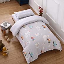 SnowAir Soft Cot Set,3Pcs Cotton Crib Bed Linen Kit Cartoon Baby Bedding Set for Boy Girl Kids Including Pillowcase Bed Sheet Duvet Cover-Baby Product