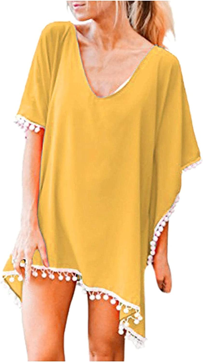 Womens Swimsuit Cover Up 2021 Beach Cover Ups Dress Plus Size Cover Ups Trim Kaftan Chiffon Tassels Loose Tops