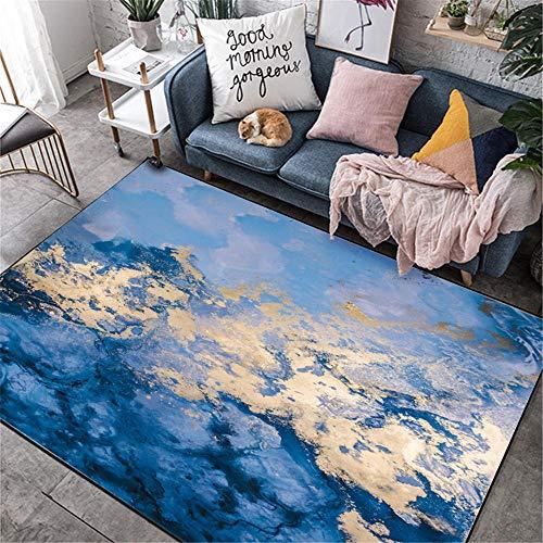 La alfombras insonorización La Alfombras Alfombra de la Mesa de Centro de la Sala de Estar del patrón de Nube de Graffiti Abstracto Amarillo Azul Duradera Antideslizante Suelo Alfombras 60*160cm