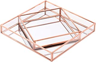 Koyal Wholesale Glass Mirror Square Trays Vanity Set of 2, Rose Gold Decorative Mirrored Trays for Coffee Table, Bar Cart, Dresser, Bathroom, Perfume, Makeup, Wedding Centerpieces