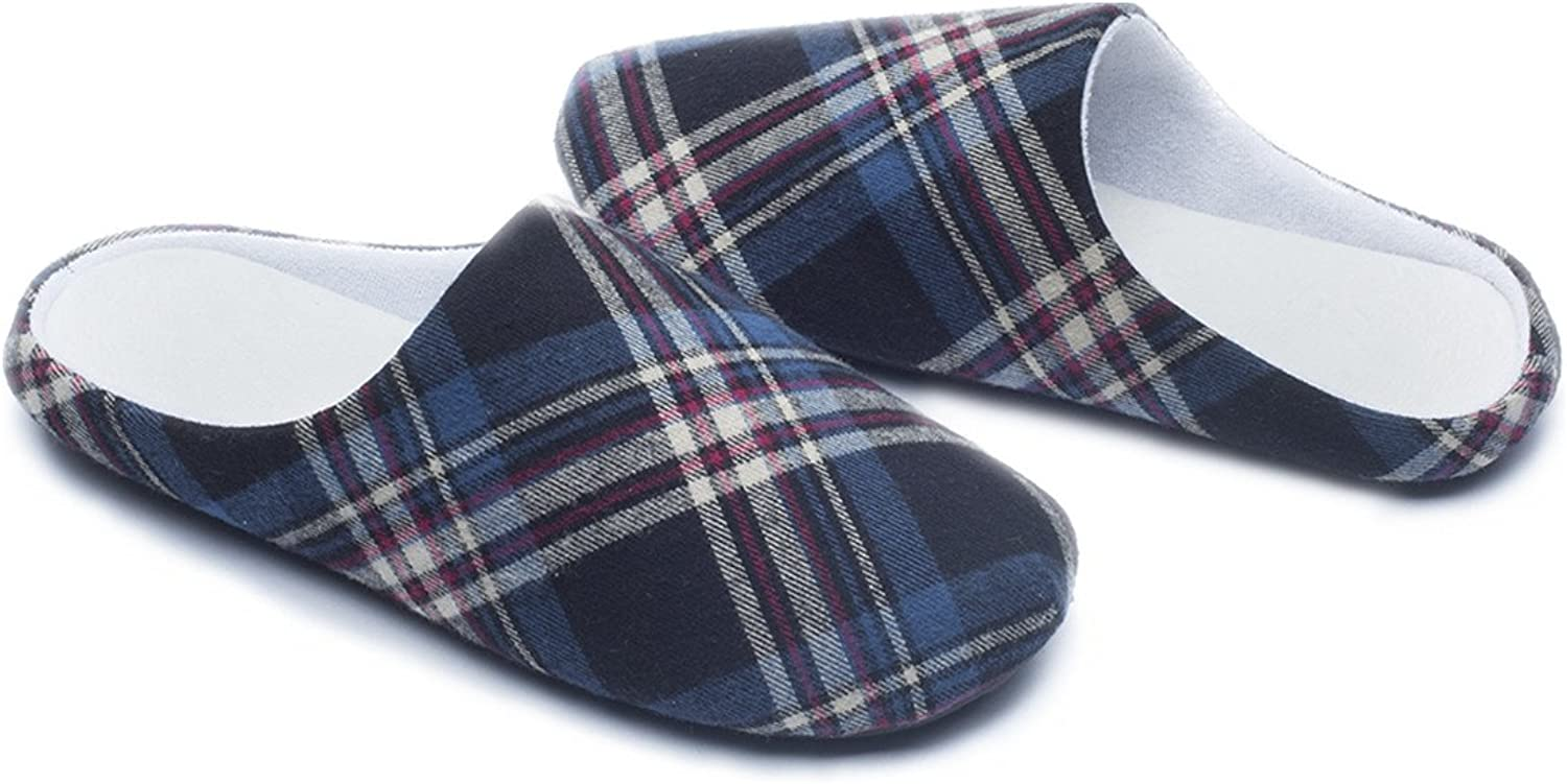 Ofoot Womens Mens Plaid Arch Support House Slippers,Cozy Furry Lining Memory Foam,Anti-Skid Flats