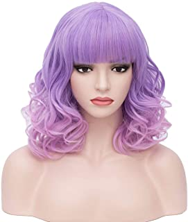 BERON 14'' Short Curly Women Girl's Charming Synthetic Wig with Air Bangs..
