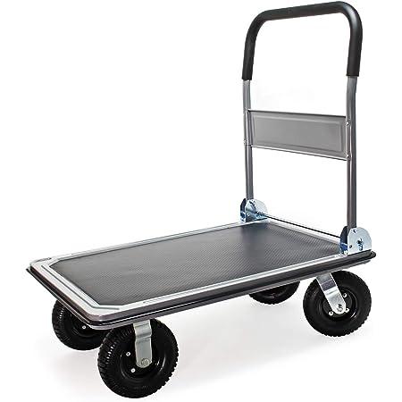 WilTec Carrito Plataforma de Transporte hasta 300kg con neumáticos, Plegable, Revestimiento Antideslizante