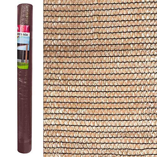 LOLAhome Malla de sombreo para jardín de HDPE marrón de 4x5 Metros