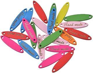 LIOOBO 200 peças de etiquetas coloridas de madeira com botões ovais de costura faça você mesmo artesanato com 2 furos de b...