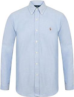 d416e664d Ralph Lauren Polo Mens Slim Fit Stretch Oxford Shirt Long Sleeve White Blue