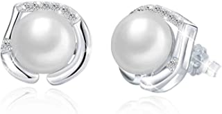 Swarovski Elements 925 Sterling Silver Non allergenic Pearl Studs Earrings for Female JRosee Jewelry JR481