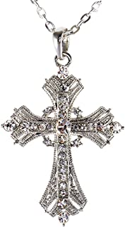 Alilang Silvery Tone Religious Cross Pendant Necklace w/Aquamarine Blue Or Clear Crystal Rhinestones