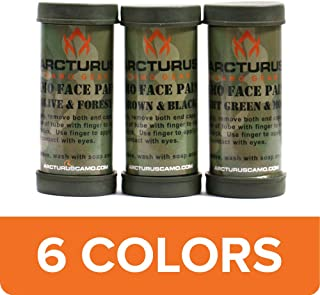 Arcturus Camo Face Paint Sticks - 6 Camouflage Colors in 3 Double-Sided Tubes for Hunting or Military Use