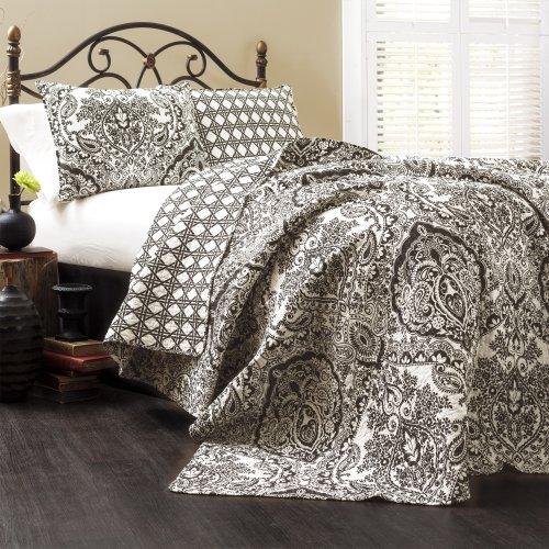 Lush Decor Aubree Quilt Paisley Damask Print Pattern Reversible 3 Piece Lightweight Bedding Blanket Bedspread Set, King, Black & White