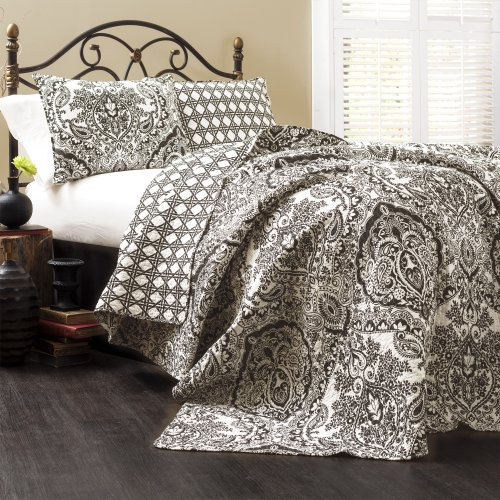 Lush Decor Aubree Quilt Paisley Damask Print Pattern Reversible 3 Piece Lightweight Bedding Blanket Bedspread Set, King, Black & White