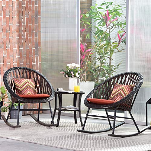 ovios 3 Piece Patio Rocking Bistro Set,Patio Outdoor Furniture, Porche Rocking Chairs Conversation Sets with Glass Coffee Table for Small Space,Deck,Terrace (Orange-Red)