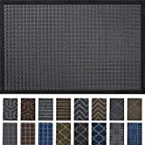 DEXI Durable Indoor Outdoor Door Mat, 60x36 Heavy Duty Rubber Doormat, Waterproof, Esay Clean, Low-Profile Mats for Entry, Garage, Patio, High Traffic Areas, Grey