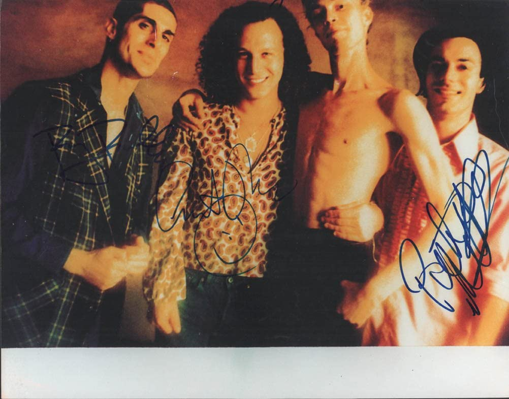 Porno For Pyros Autographed Soldering x3 Phoenix Mall Band Photo AFTAL Signed 11x14
