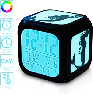 Mermaid Wake Up Light Alarm Clock for Girls,7 Color Change Bedside Cube LED Digital Alarm Clock with Week Date Alarm Thermometer Unicorn Table Soft Nightlight Lamp Decoration for Kids Bedroom