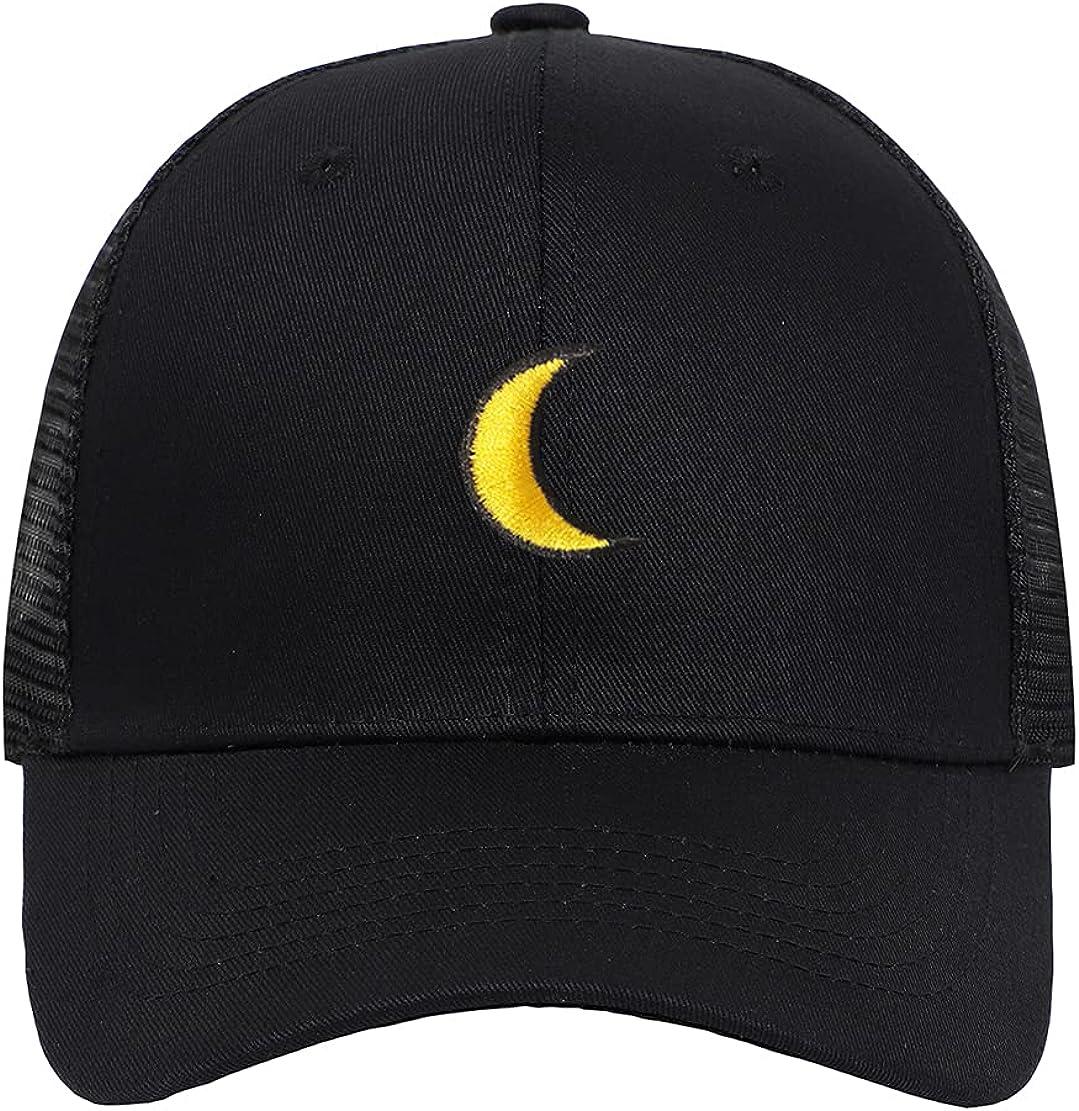 Furtony Cap Adjustable Hat Moon Hats Max Regular dealer 87% OFF Pattern Headwear Embroidery