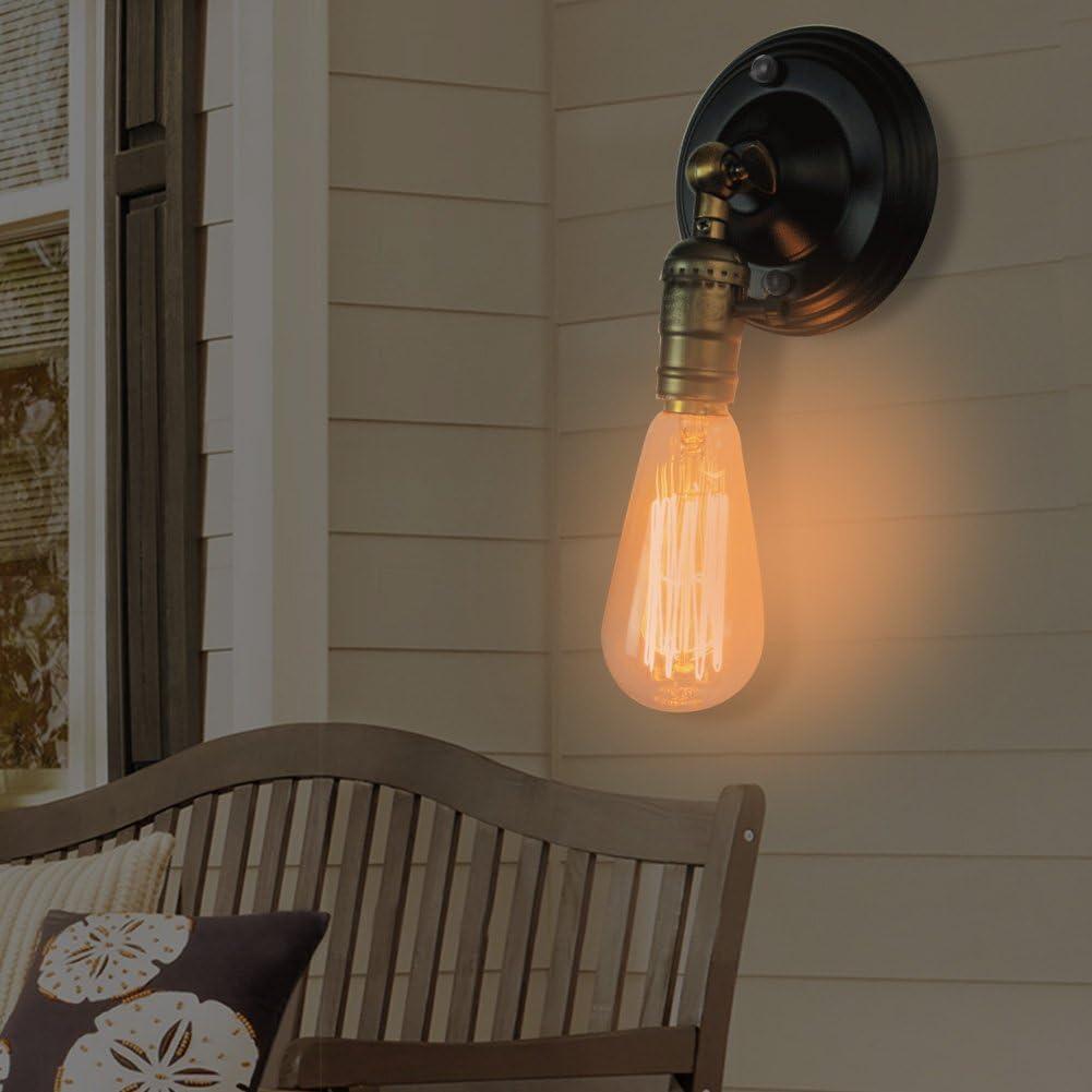 Warehouse Farmhouse Bronze Sconces Lighting Holder with Adjustable Head 110-230V EECOO Vintage Retro Wall Light Holder E27 Socket for Cabinet Restaurant Lamp Fixture Home Decor
