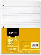 AmazonBasics Wide Ruled Loose Leaf Filler Paper, 200 Sheet, 10.5 x 8 Inch, 6-Pack