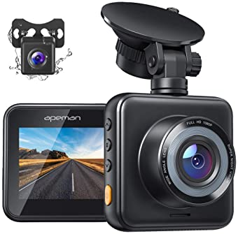 APEMAN Dual Dash Cam Front and Rear, 1080P Full HD Dash Camera for Cars, Waterproof Backup Camera, 170° Wide Angle Dr...