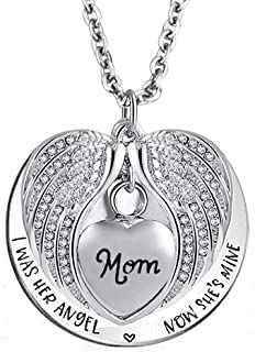 Sug Jasmin I was His Angel Now He's Mine Angel Wing Urn Ashes Necklaces for Dad Mom Grandma Keepsake Memorial Jewelry Cremation Pendant with Fill Kit