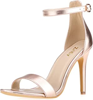 6b15cbc936 ZriEy Women's Heeled Sandals Ankle Strap High Heels 7CM Open Toe Mid Heel  Sandals Bridal Party