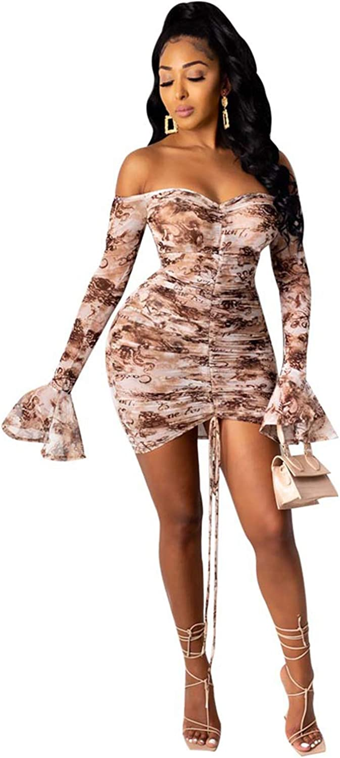 Akk Women Sexy Off Shoulder See Through Bell Sleeve Ruched Front Drawstring Stretchy Bodycon Mini Dress Club Party