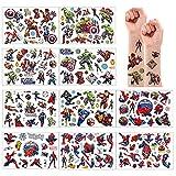 10 hojas Avenger + Spider Man conjunto de tatuajes temporales tatuajes falsos pegatinas impermeables para bolsas de regalo regalos de cumpleaños para niños niñas niños