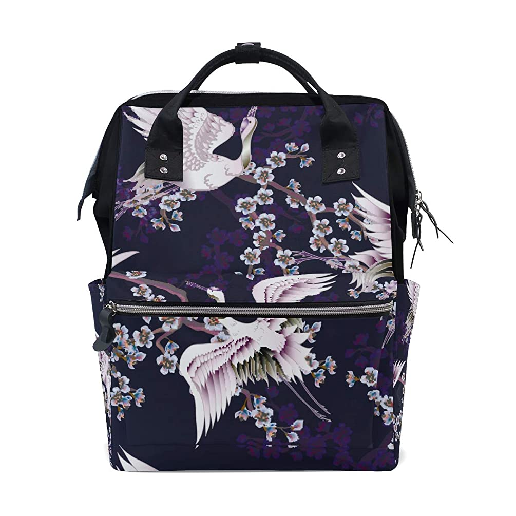 Dark Purple Crane Plum Flower School Backpack Large Capacity Mummy Bags Laptop Handbag Casual Travel Rucksack Satchel For Women Men Adult Teen Children