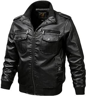 wuliLINL Men Faux Leather Motorcycle Jacket Vintage Slim Faux Bomber Jacket Casual Zipper Outwear Coats
