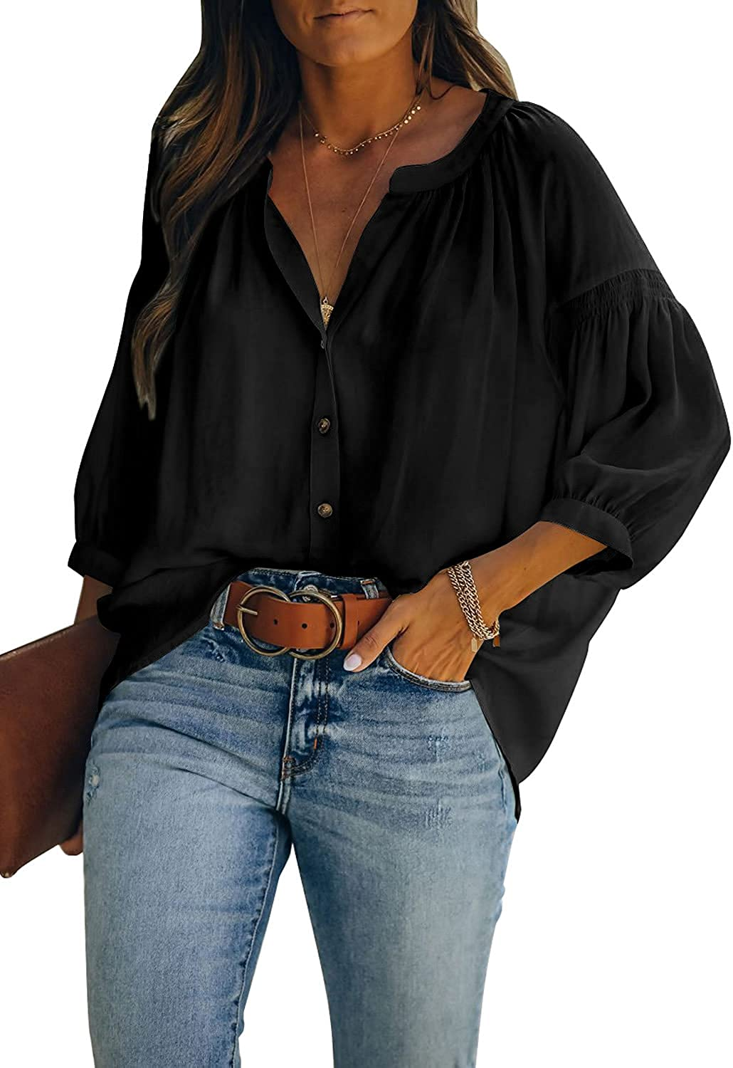 LOLONG Womens 3/4 Sleeve Button Down Shirts Casual Loose Fit Woven Blouse Tops