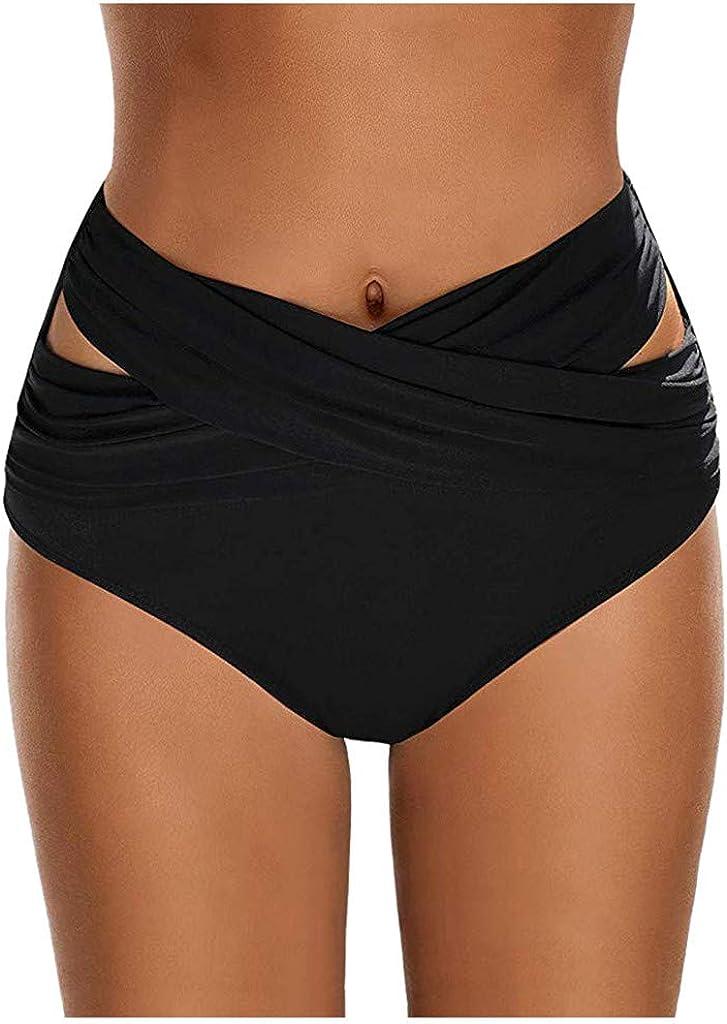 NOMUSING Women High Waist Ruched Bikini Bottoms Tummy Control Swimsuit Briefs Pants Swim Shorts Swimwear Bathing Suit