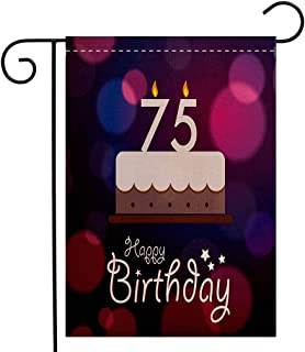 BEIVIVI Creative Home Garden Flag 75th Birthday Decorations Abstract Artistic Background with Graphic Cake Candles Purple Magenta White Welcome House Flag for Patio Lawn Outdoor Home Decor