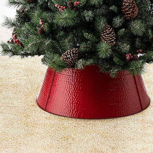 Glitzhome Hammered Metal Christmas Tree Collar Decorations, 26-Inch Diameter Base, Red