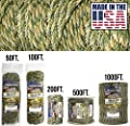 TOUGH-GRID 750lb Forest Camo Paracord/Parachute Cord - Genuine Mil Spec Type IV 750lb Paracord Used by The US Military (MIl-C-5040-H) - 100% Nylon - Made in The USA. 50Ft. - Forest Camo