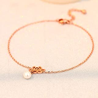 CXQ Fashion Temperament Pearl Lotus Rose Gold Feet Ladies Chain Foot Ring Jewelry Foot Chain Jewelry Gift