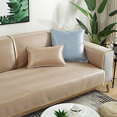 YUTJK Cubierta de sofá de Verano Fresco Monocromo,Fundas de Almohada cuadradas Funda de sofá,Suaves para el sofá,el Dormitorio y el Coche,Beige 2_45×45cm(Almohada/con núcleo)