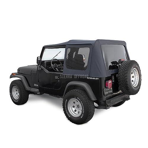 Sierra Offroad Jeep 1988 1995 Soft Top Denim Vinyl Black