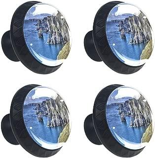 4 Pcs Atlantic Coast Cliffs at Mizen Head County Cork Ireland Ocean Coastal Scenery Image Crystal Class Cabinet Knobs 35mm Circle Shape Drawer Kitchen Cabinets Dresser Cupboard Wardrobe Pulls Handles