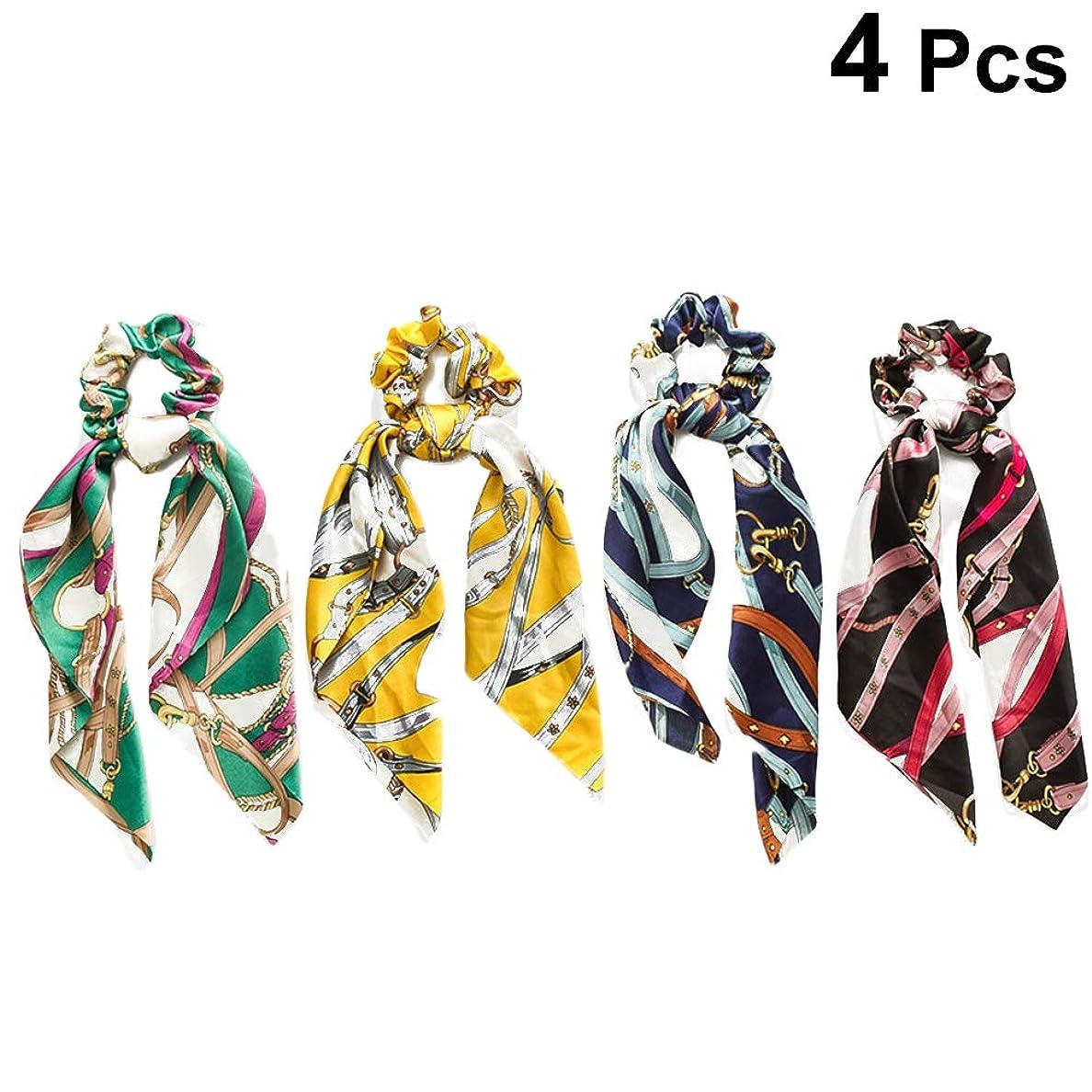 単位対万歳Lurrose リボン付きヘアバンドサテンちょう結びヘアゴムネクタイバンドポニーテールホルダーヘッドバンド4本