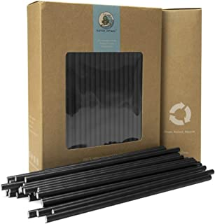 Go Turtle! Biodegradable Paper Straws, 150-pack Biodegradable 0.32 inch (6mm) X 7.75 inch (196mm) Eco-Friendly Paper Drinking Straws for Juices, Shakes, Smoothies, Party Supplies Decorations - Black