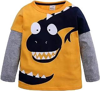 Hooyi Camiseta de manga larga para niños con diseño de dinosaurio con paneles de algodón y cuello redondo
