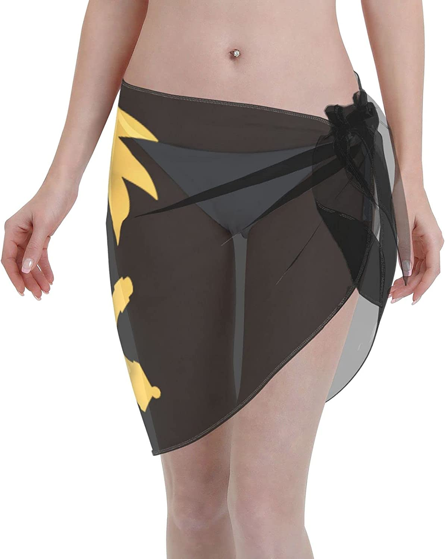Haiti Flag Women Short Sarongs Beach Wrap Sheer Bikini Wraps Chiffon Cover Ups for Swimwear Sexy Wrap Around Dress Black