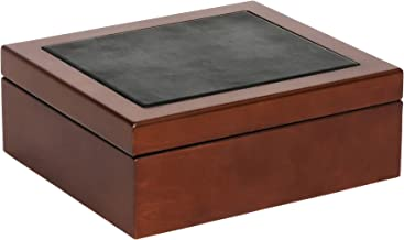 Mele & Co. Wyatt Men's Wooden Dresser Top Valet in Walnut Finish