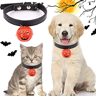 Hamkaw Halloween Ghost Pet Collar Fashion Festival Adjustable Dogs Cats Collar with Small Pumpkin Bell Nice Pet Gifts Presents