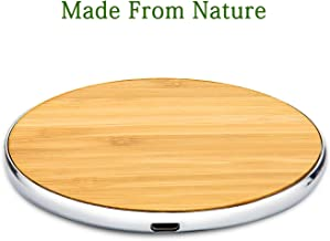 Krobot Wood Wireless Charger, 10W Bamboo Qi Wireless Charging Pad with Aluminum, Fast Charging for iPhone X, iPhone8/8 Plus, Samsung Galaxy S7/8 and All Qi-Enabled Devices
