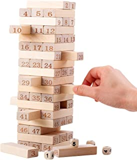 QZM Timber Jenga Tower Wood Block Stacking Game That The Classic Best Family Fun Educational Games for Kids –Gifts Ideas Number Match (54 Pieces)