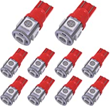 YITAMOTOR 10 PCS T10 Wedge 5-SMD 5050 Red LED Light Bulbs W5W 2825 158 192 168 194 12V DC