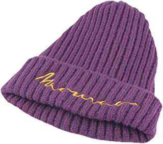 b69c95df Naiflowers Unisex Children's Letter Embroidery Knitted Hooded Cap Wool Warm  Beanie Hat
