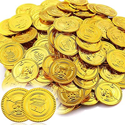 pllieay 150 pieces pirate gold coins plastic gold coins play set for party decorations Pllieay 150 Pieces Pirate Gold Coins Plastic Gold Coins Play Set for Party Decorations 611haohrcPL