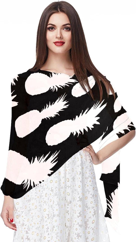 Pineapple Black White Pattern Women Soft Chiffon Pashmina Shawl Wrap Scarf for Bridesmaid Wedding Formal Party Evening Dress